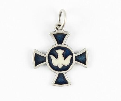 Medalik - Krzyż z Gołębicą - niebieski (1)
