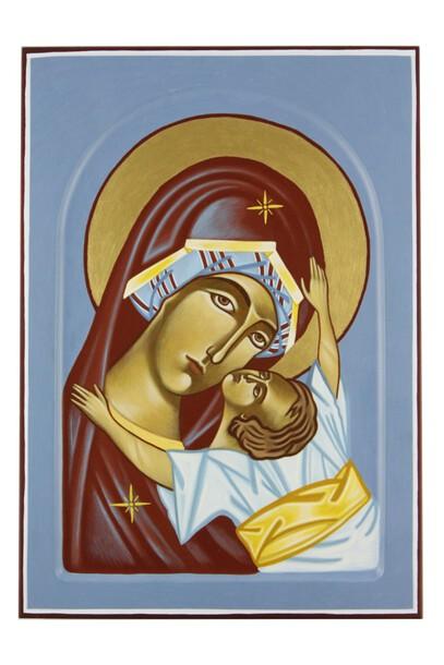 Ikona ręcznie pisana - Matka Boża z Dzieciątkiem (1)