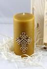 Świeca woskowa z krzyżem plecionym - świąteczna (4)