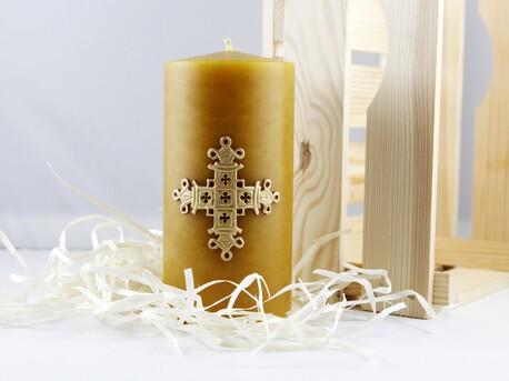 Świeca woskowa z krzyżem królewskim - świąteczna (1)
